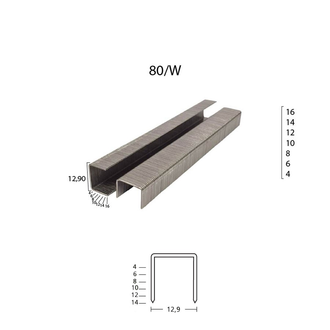 Grampo 80/W 8mm para Grampeador Pneumático 80/08 Guara com 10.000 unid.