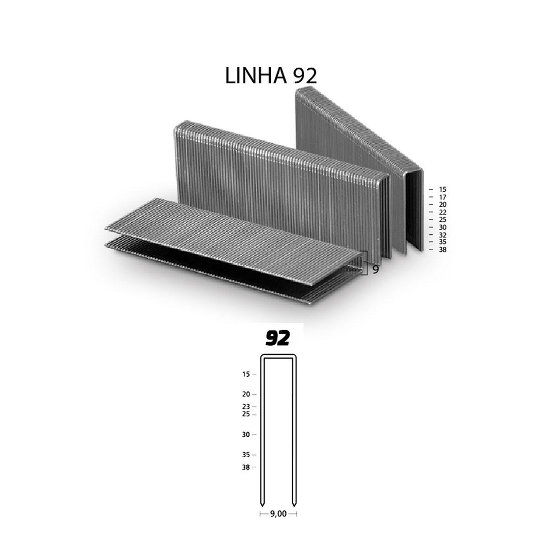 Grampo 92 20mm para Grampeador Pneumático 92/15 Guara com 26.980 unid.