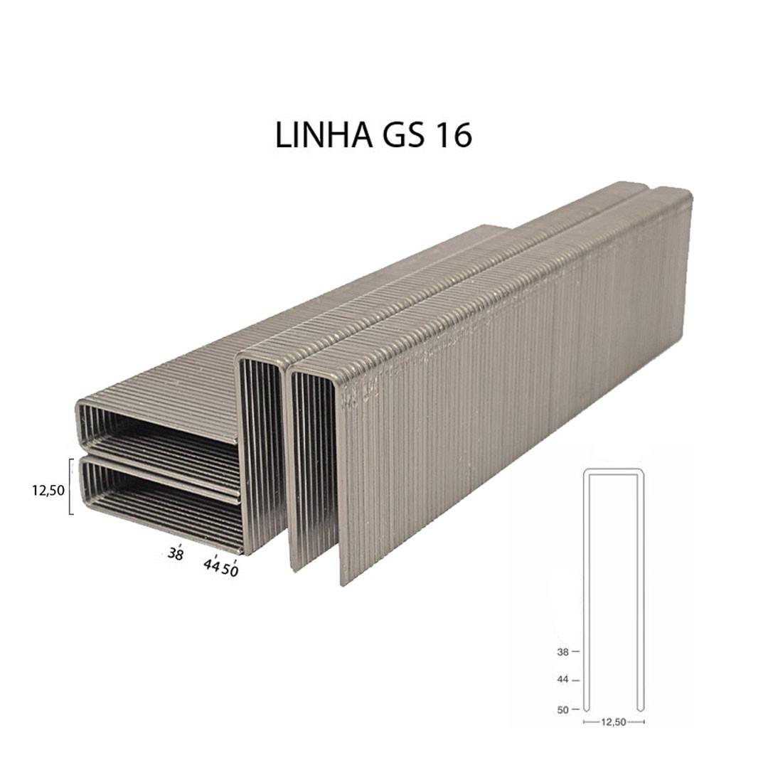 Grampo GS 16 38mm para Grampeador Pneumático GS 16/38 Guara com 12.920 unid.