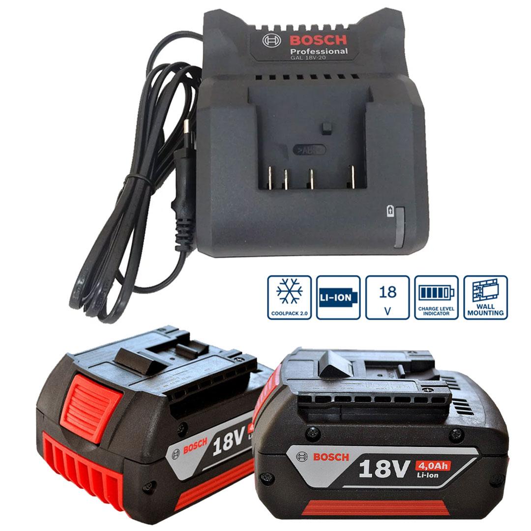 Kit 18V Bosch 2 Baterias GBA 18V 4.0Ah e Carregador GAL 18V-20 1600A019CJ