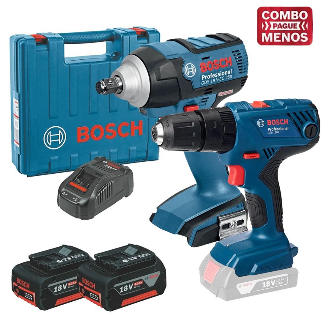 Kit 18V Bosch Parafusadeira GSB180-LI + Chave de Impacto GDS18V-EC250 + 2 Baterias 4,0Ah + Carregador e Maleta
