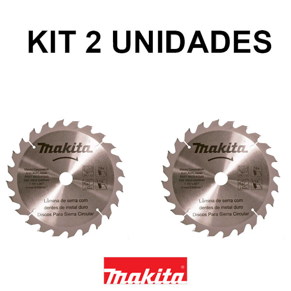 Kit 2 Disco de Serra Circular 185mm 24 dentes Makita STD D-51340