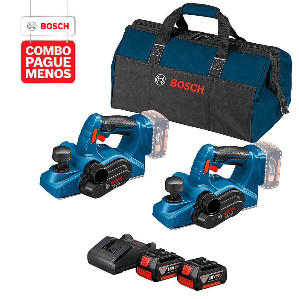 Kit 2 Plaina a Bateria 18V GHO 18V-LI + Kit 2 Bateria 18V 4A e Carregador GAL 18V-20 18V Bivolt + Bolsa
