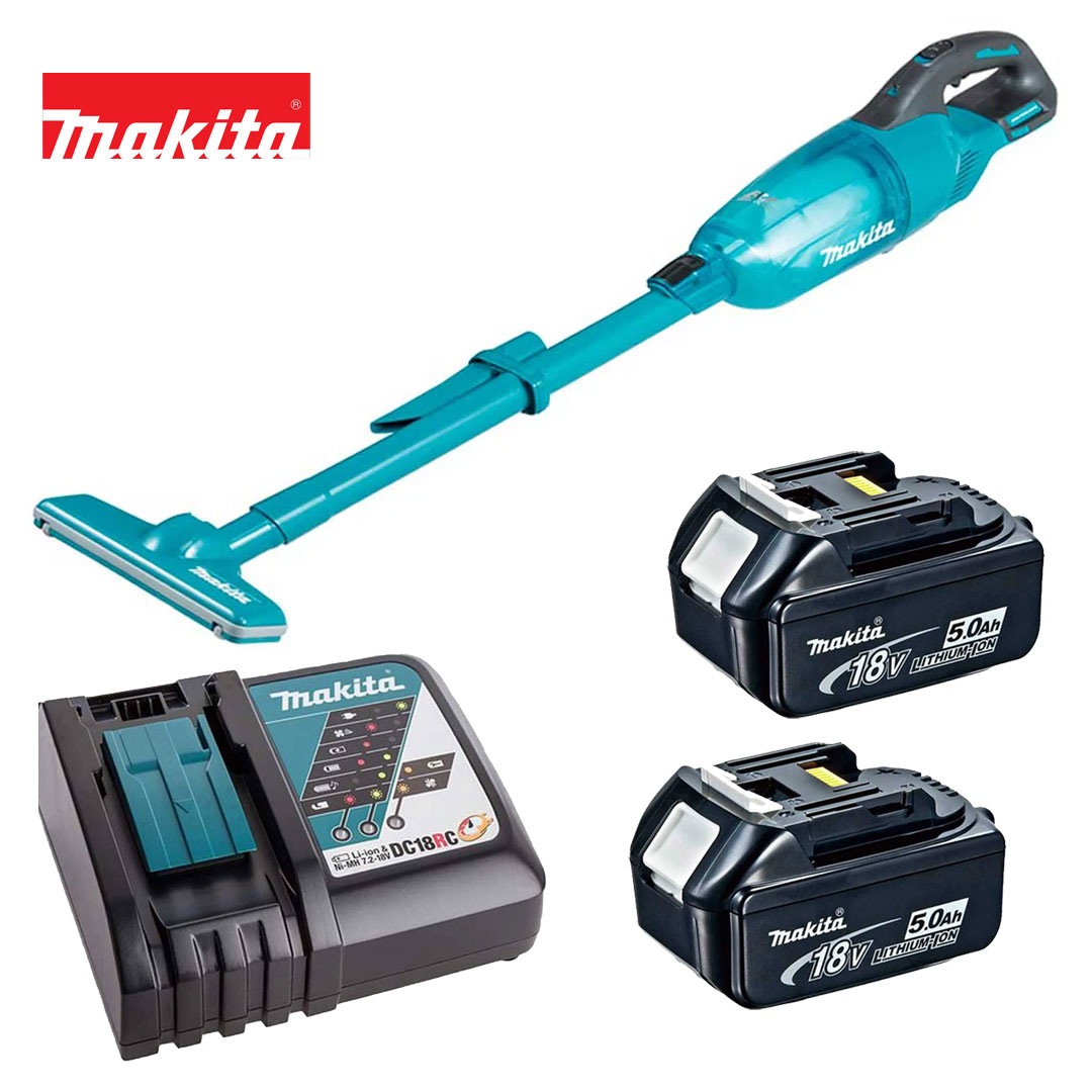 Kit Aspirador 18v DCL280FZ + 2 Bateria 5AH BL1850B + Carregador DC18RC Bivolt - Makita