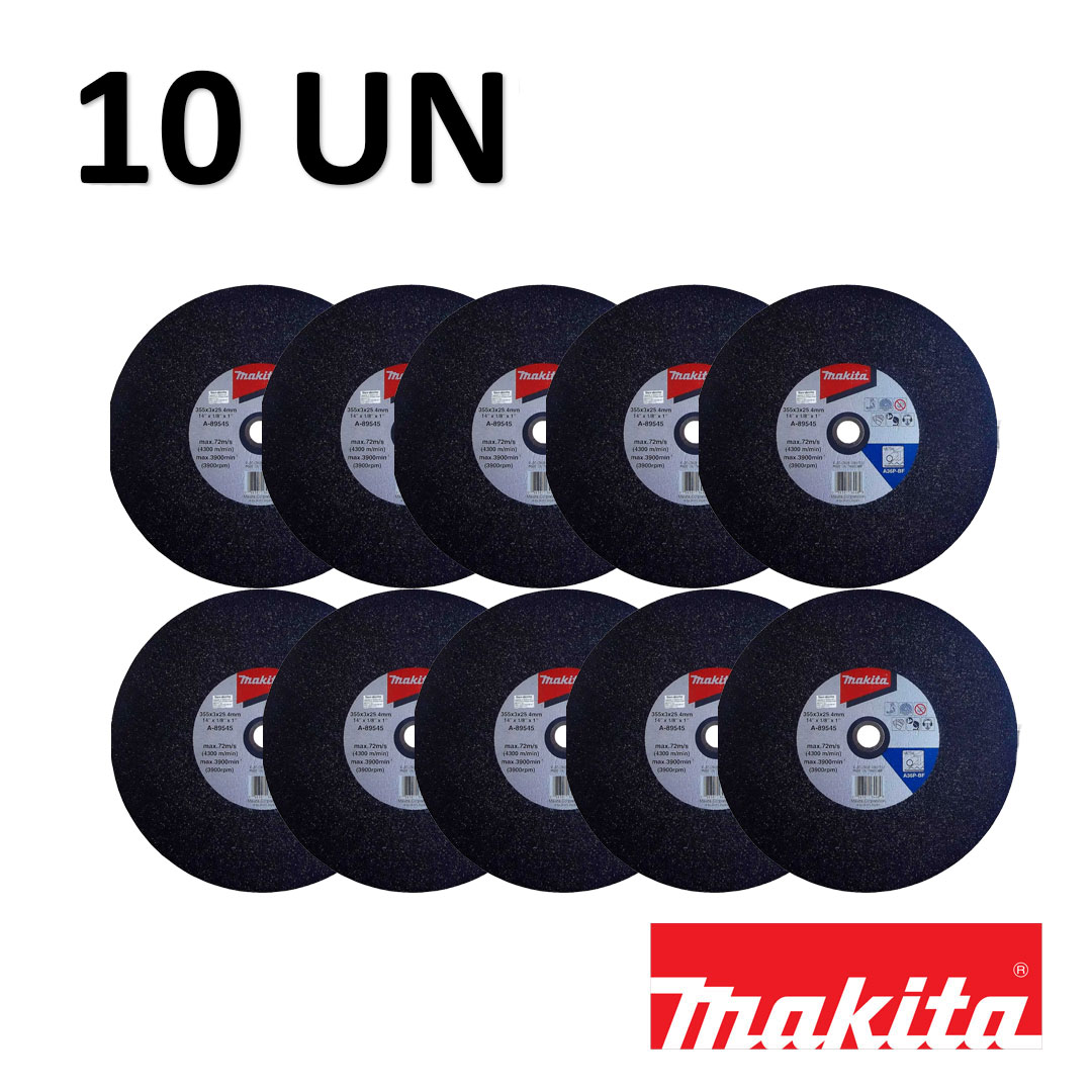Kit com 10 Discos De Corte Para Metal 355x3x25.4 Mm A-89545-5 MAKITA