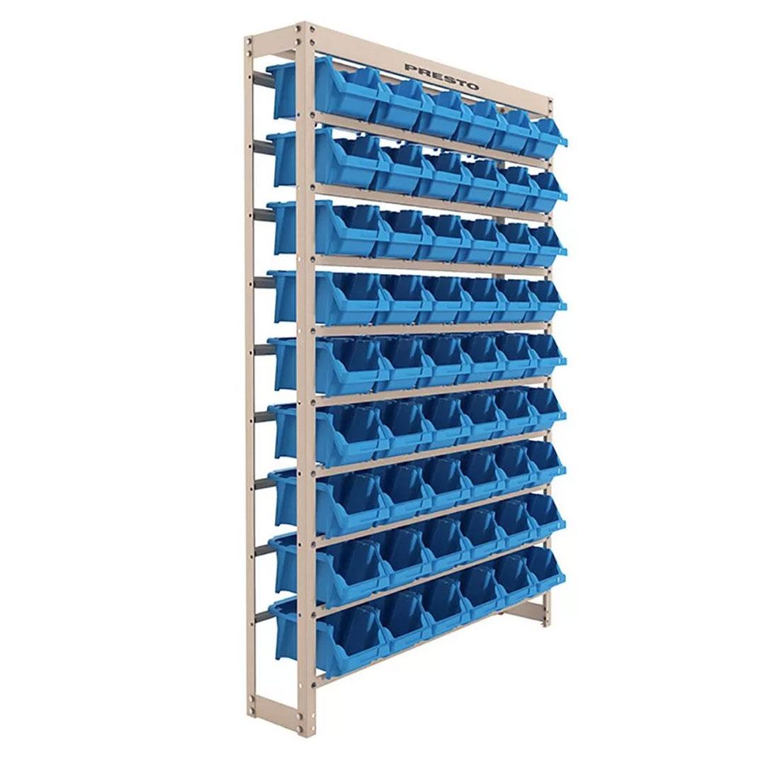 Kit Estante Gaveteiro Organizador com 54 Gavetas Empilháveis Nr. 5 Azul