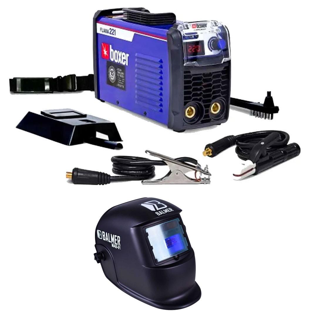 Kit Inversora De Solda Flama 221 MMA/TIG + Máscara Automática Solda S/ Regulagem MAB 91 Balmer - BOXER