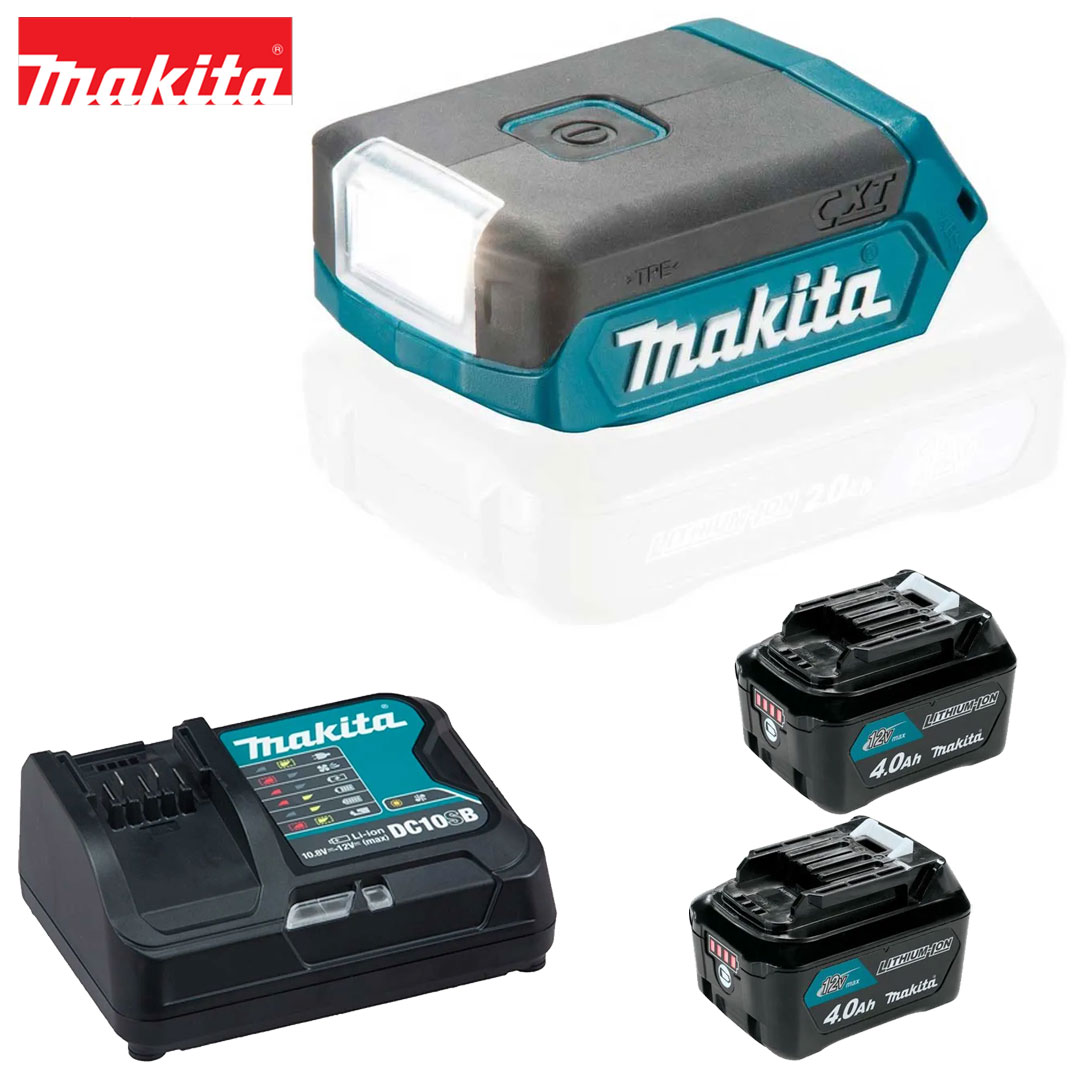 Kit Lanterna 12V Cxt Led ML103 + 2 Bat 4AH BL1041B + Carregador DC10SB Bivolt Makita