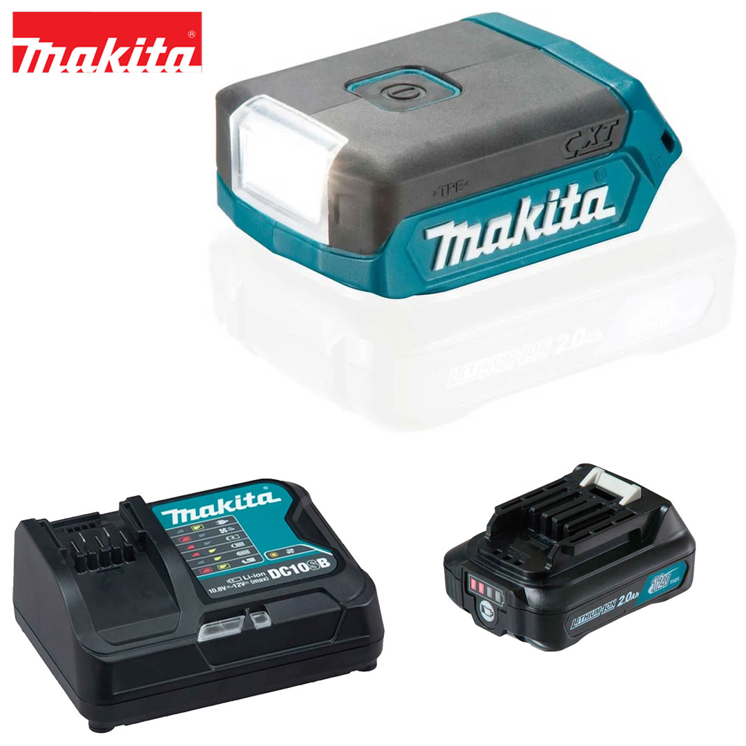 Kit Lanterna 12V Cxt Led ML103 + Bateria 2AH BL1021B + Carregador DC10SB Bivolt Makita
