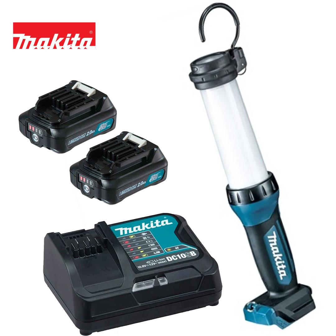 Kit Lanterna 12V Cxt Led ML104 + 2 Bateria 2AH BL1021B + Carregador DC10SB Bivolt - Makita