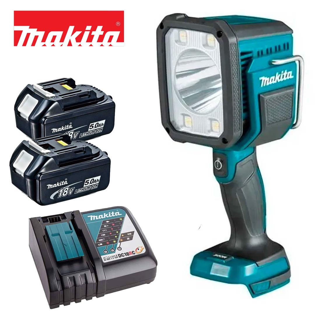 Kit Lanterna Refletor A Bateria 18v Led DML812 + 2 Bateria 5AH BL1850B + Carregador DC18RC Bivolt - Makita