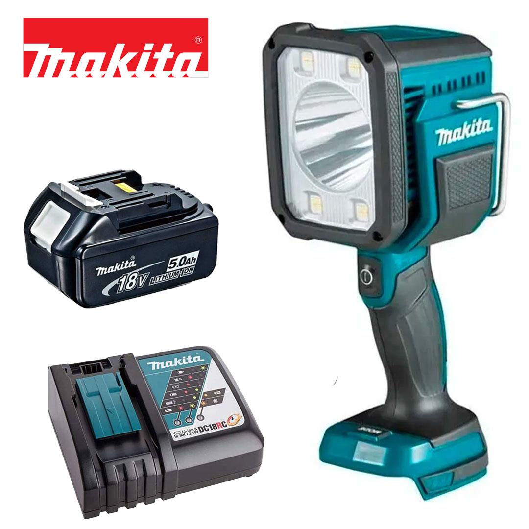 Kit Lanterna Refletor A Bateria 18v Led DML812 + Bateria 5AH BL1850B + Carregador DC18RC Bivolt - Makita