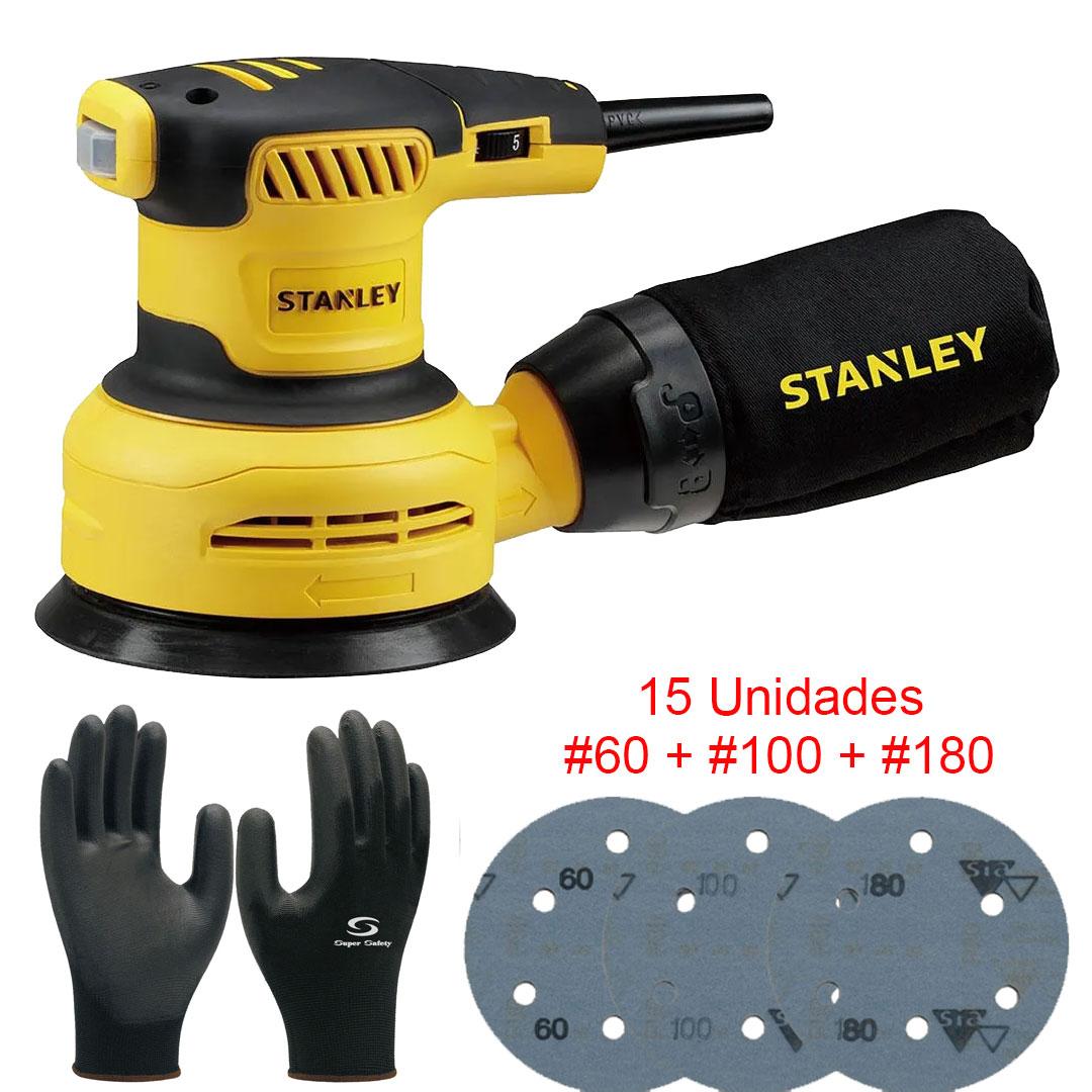 Kit Lixadeira Roto Orbital 300W Stanley + 15 Lixas + Luvas Multitato SS30B2 220V