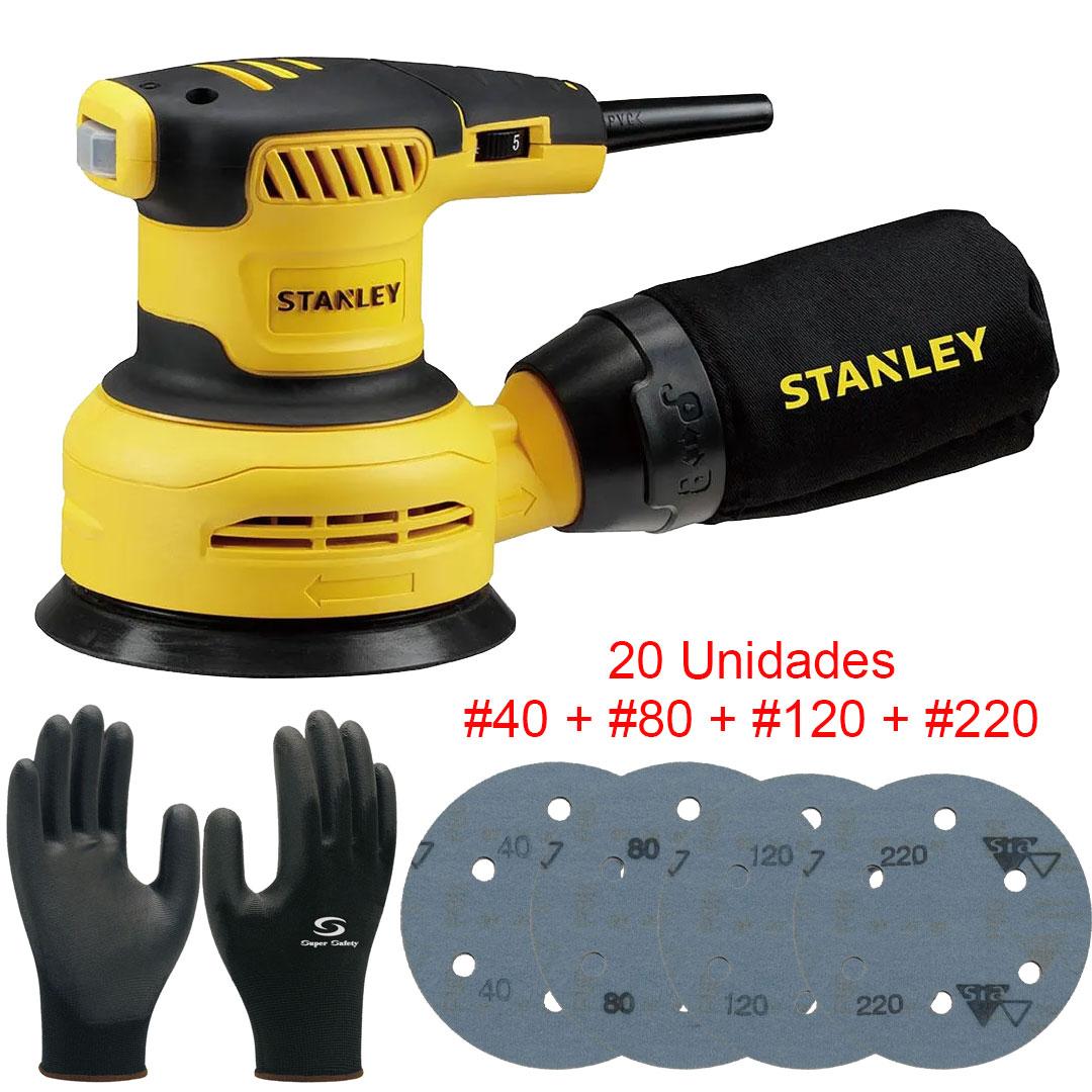 Kit Lixadeira Roto Orbital 300W Stanley + 20 Lixas + Luvas Multitato SS30B2 220V