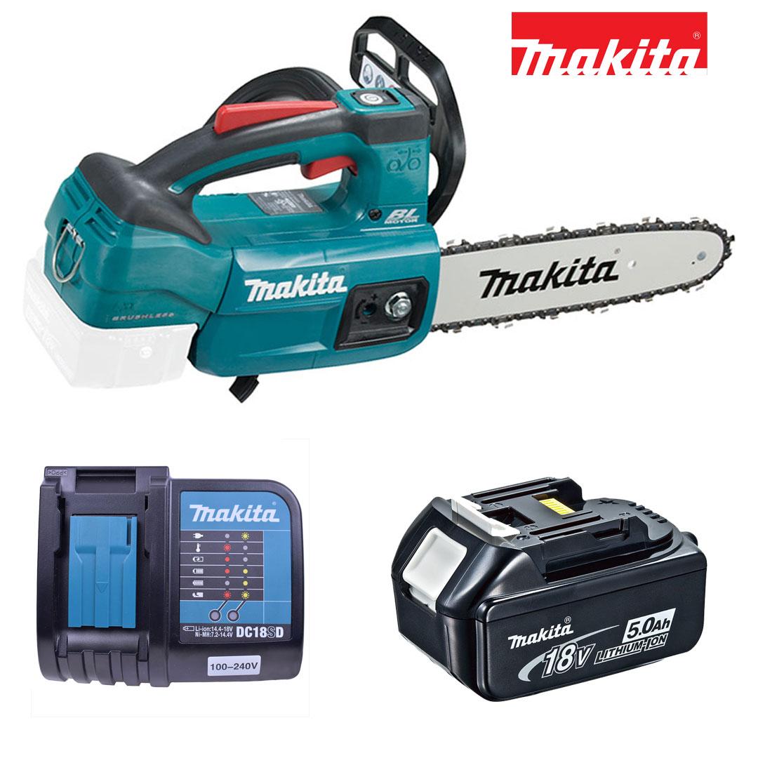 Kit Motoserra A Bateria 18v DUC254ZC + Bateria 5AH BL1850B + Carregador DC18SD Bivolt - Makita