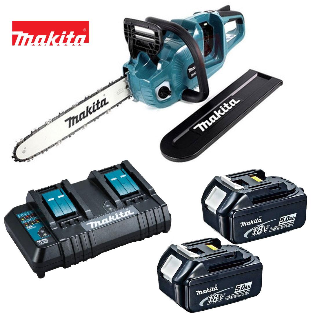 Kit Motoserra A Bateria 36v (18v+18v) + 2 Bat 5AH BL1850B + Carregador Duplo DC18SH 220V DUC353ZC  - Makita