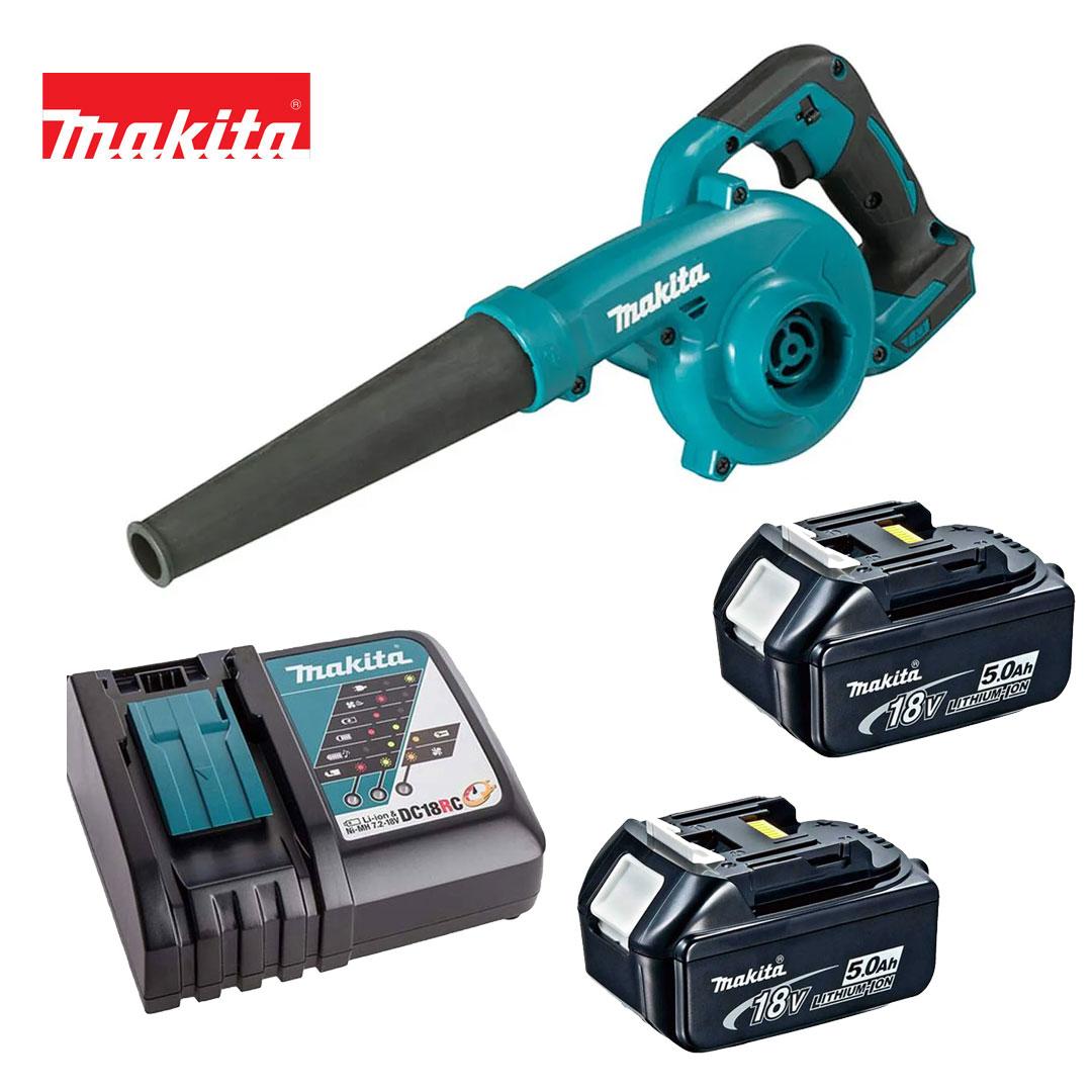 Kit Soprador Folhas 18v  DUB185Z + 2 Bateria 5AH BL1850B + Carregador DC18RC Bivolt - Makita