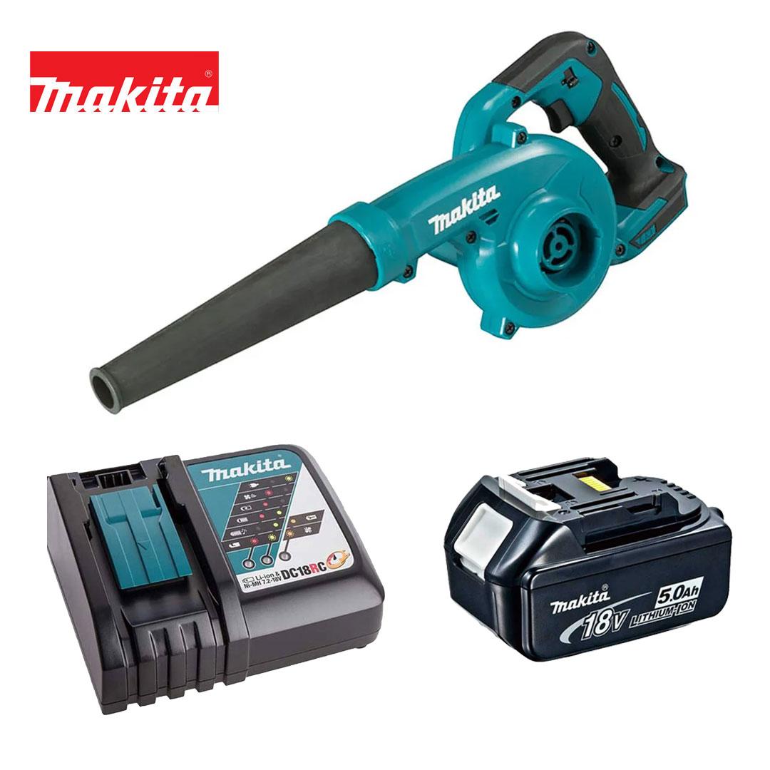 Kit Soprador Folhas 18v DUB185Z + Bateria 5AH BL1850B + Carregador DC18RC Bivolt - Makita