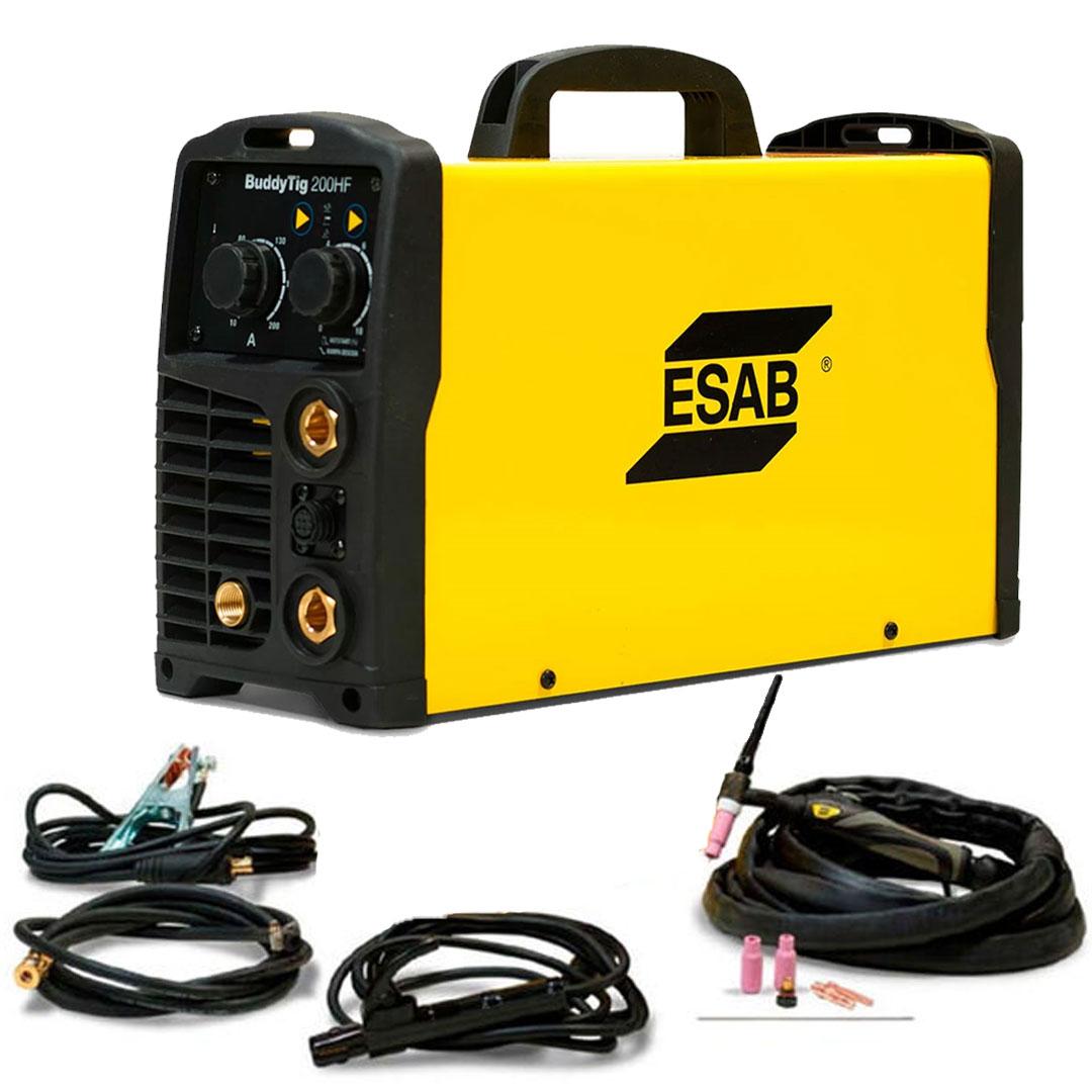 Máquina de Solda Inversora de Solda TIG DC / MMA ESAB BUDDYTIG 200HF com Kit de Acessórios para Tocha