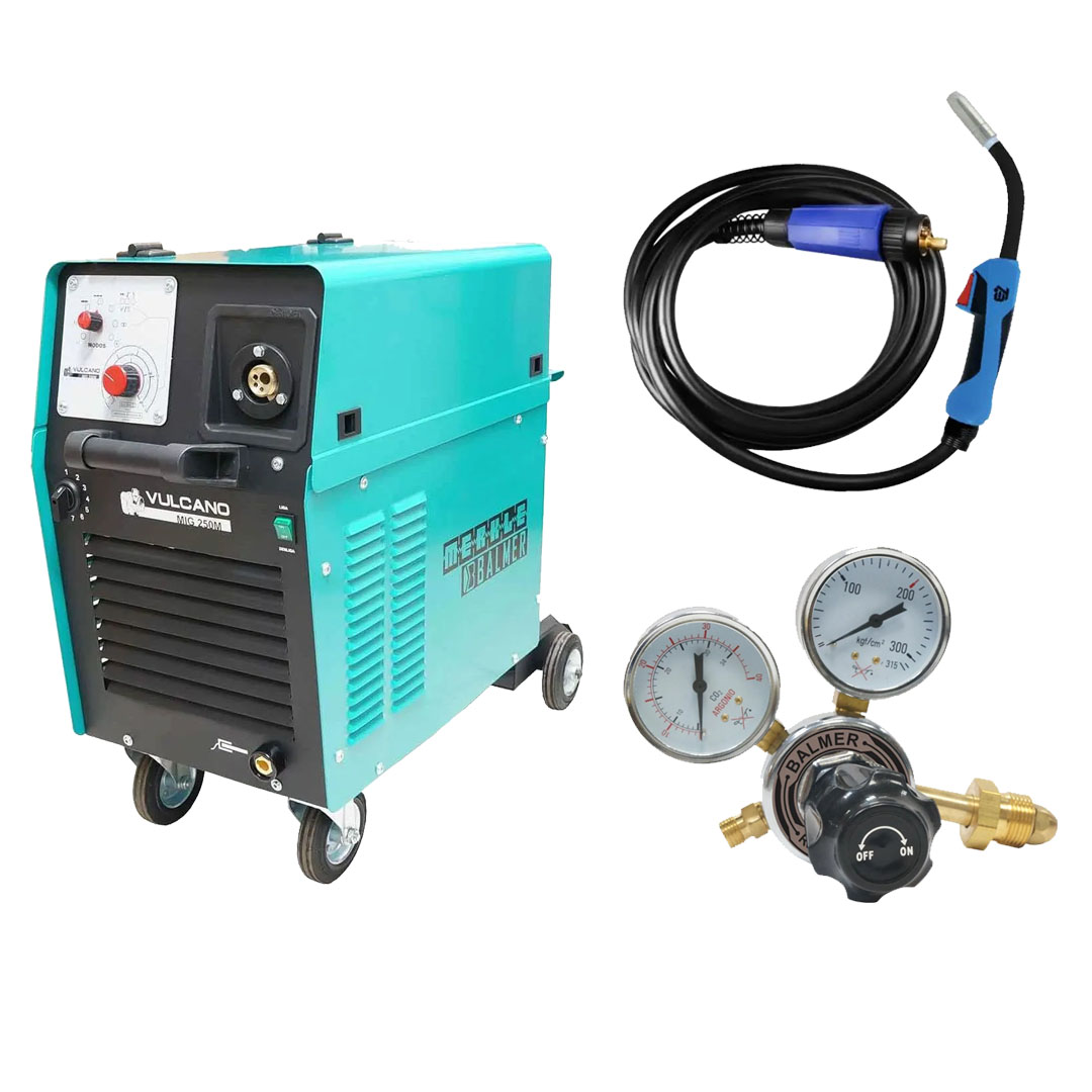 Maquina de Solda MIG MAG Vulcano MIG 250 Monofásica 220v + Tocha Tbi Pro Expert 253 3,0m + Regulador De Pressao Argonio Balmer