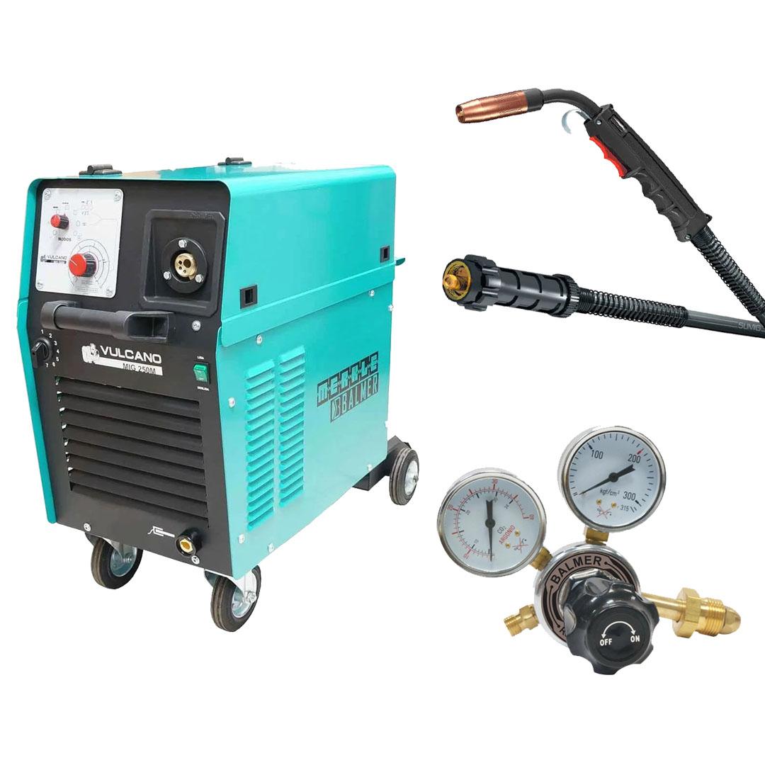 Maquina de Solda MIG MAG Vulcano MIG 250 Monofásica 220v + Tocha Sumig WELD SU315 3,0m + Regulador De Pressao Argonio Balmer
