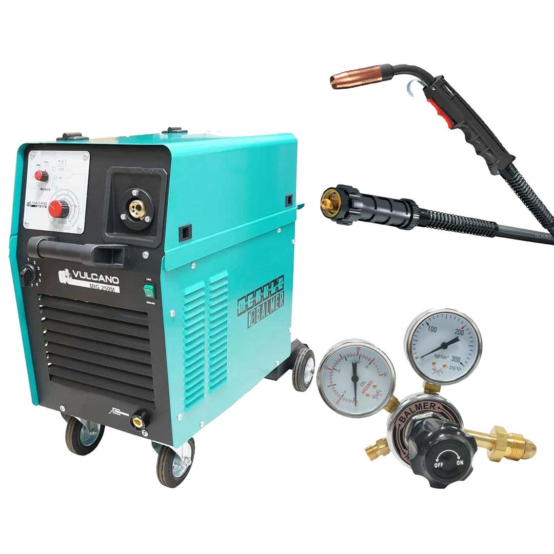 Maquina de Solda MIG MAG Vulcano MIG 250 Monofásica 220v + Tocha Sumig WELD SU315 5,0m + Regulador De Pressao Argonio Balmer