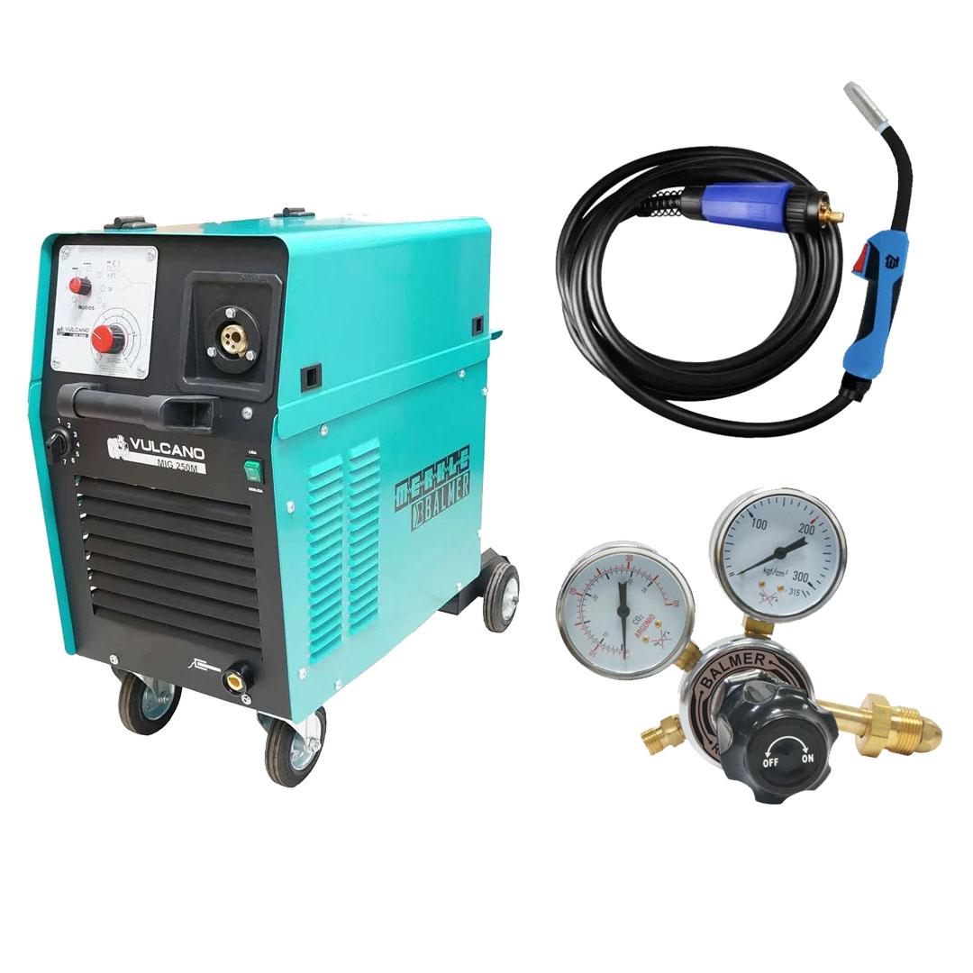 Maquina de Solda MIG MAG Vulcano MIG 250 Monofásica 220v + Tocha Tbi Pro Expert 253 5,0m + Regulador De Pressao Argonio Balmer