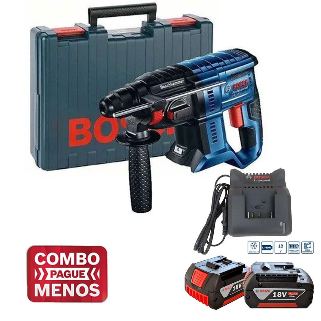 Martelete Rotativo Rompedor Gbh 180-Li 0611911020 + 2 BAT 18V 4Ah + Carregador Bivolt Bosch
