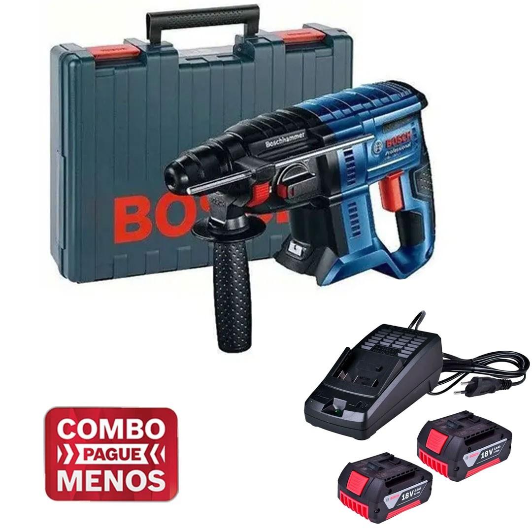Martelete Rotativo Romp. Gbh 180-Li 0611911020 + 2 Bat 3AH + Carregador Bivolt Bosch