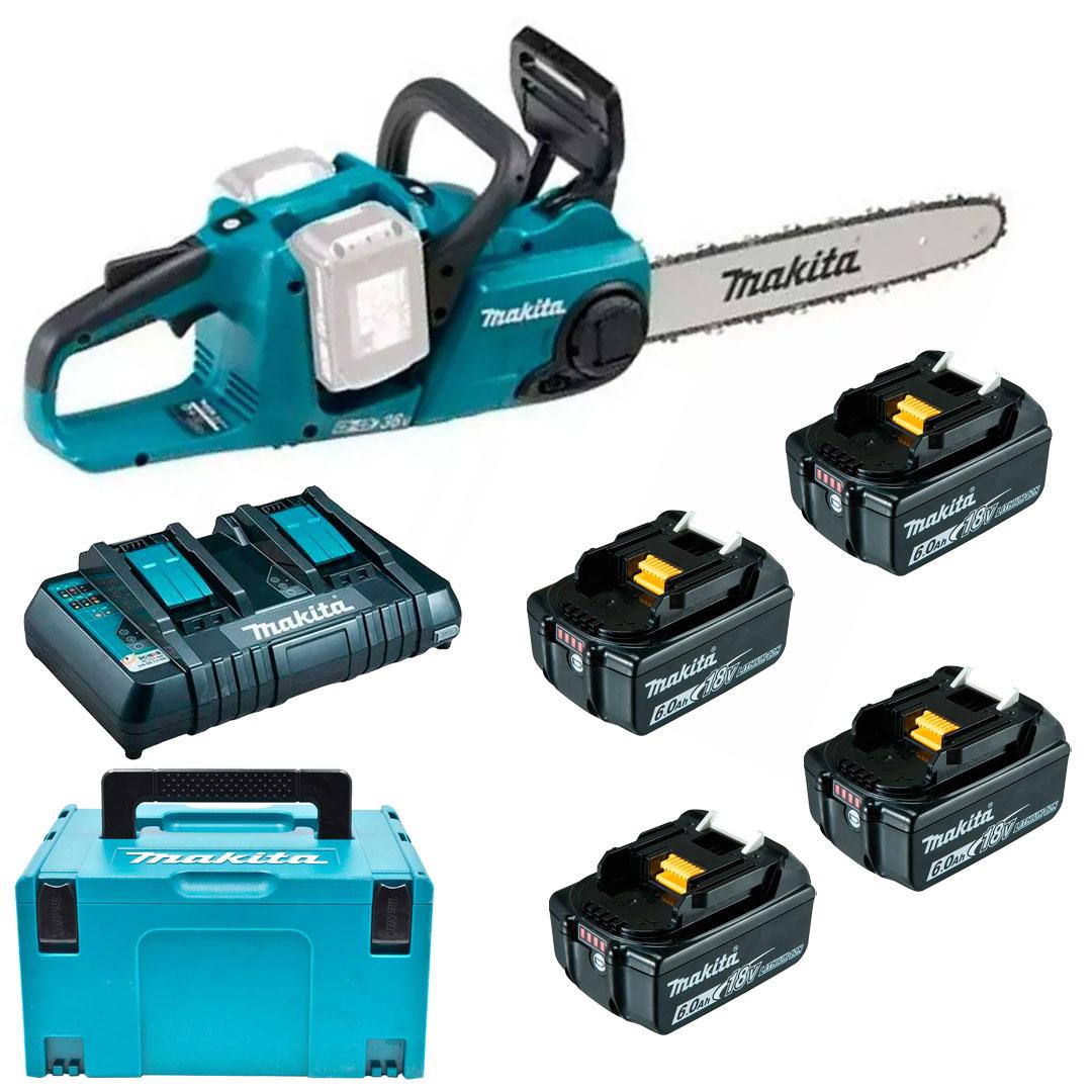 Motoserra A Bateria 36v + Maleta DUC353Z + BL1860B + KIT 220V Makita