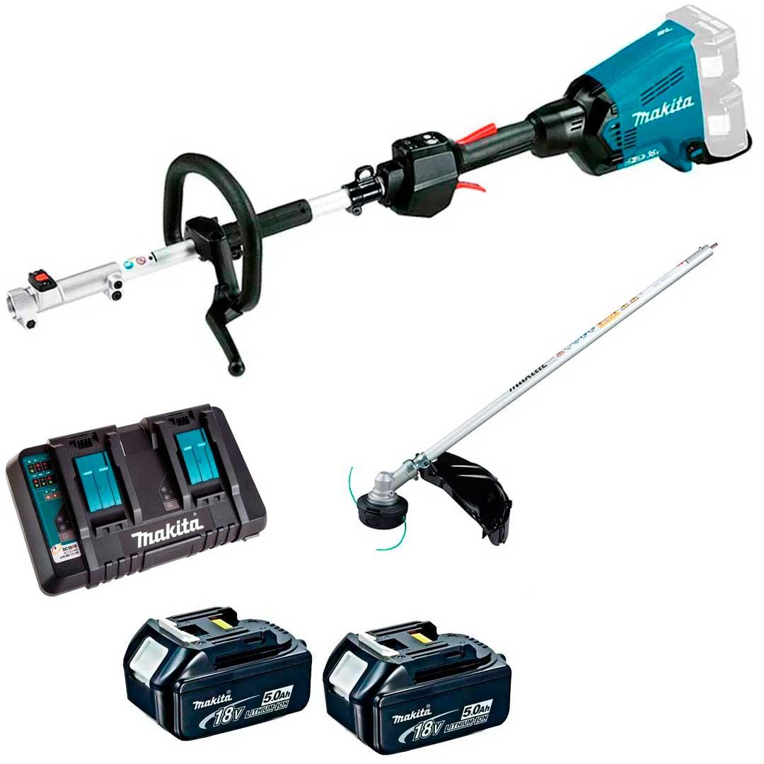 Multifuncional Bateria 36V DUX60Z + Acessório Rocadeira + Baterias 5AH BL1850 + Carregador 127V Makita