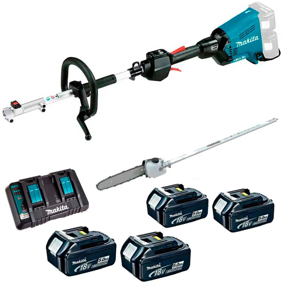 Multifuncional Bateria 36V DUX60Z + Motopoda + 4 Baterias 5AH BL1850 + Carregador 127V Makita