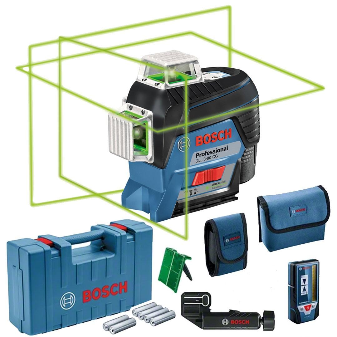 Nível a Laser BOSCH GLL 3-80CG Verde + Receptor LR7 + Maleta 0601063T01