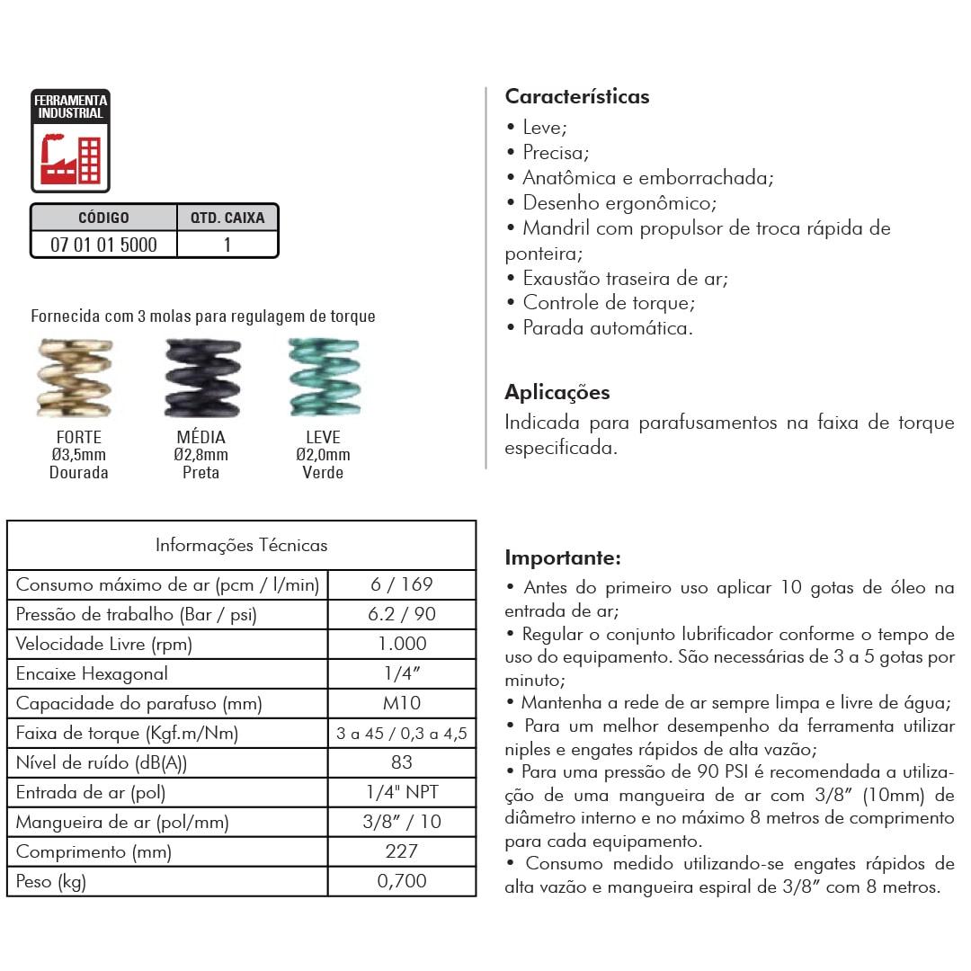 Parafusadeira Pneumática Tipo Reta Embreagem Shut-Off Sigma SGT-0150