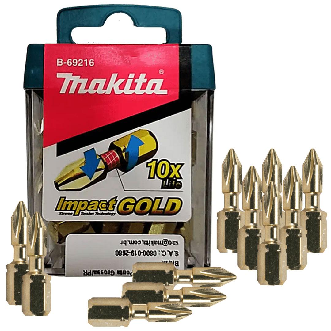 Ponta Magnética Curta Makita Bits Torção Phillips PH2 25mm Pote com 20 unidades B-69216
