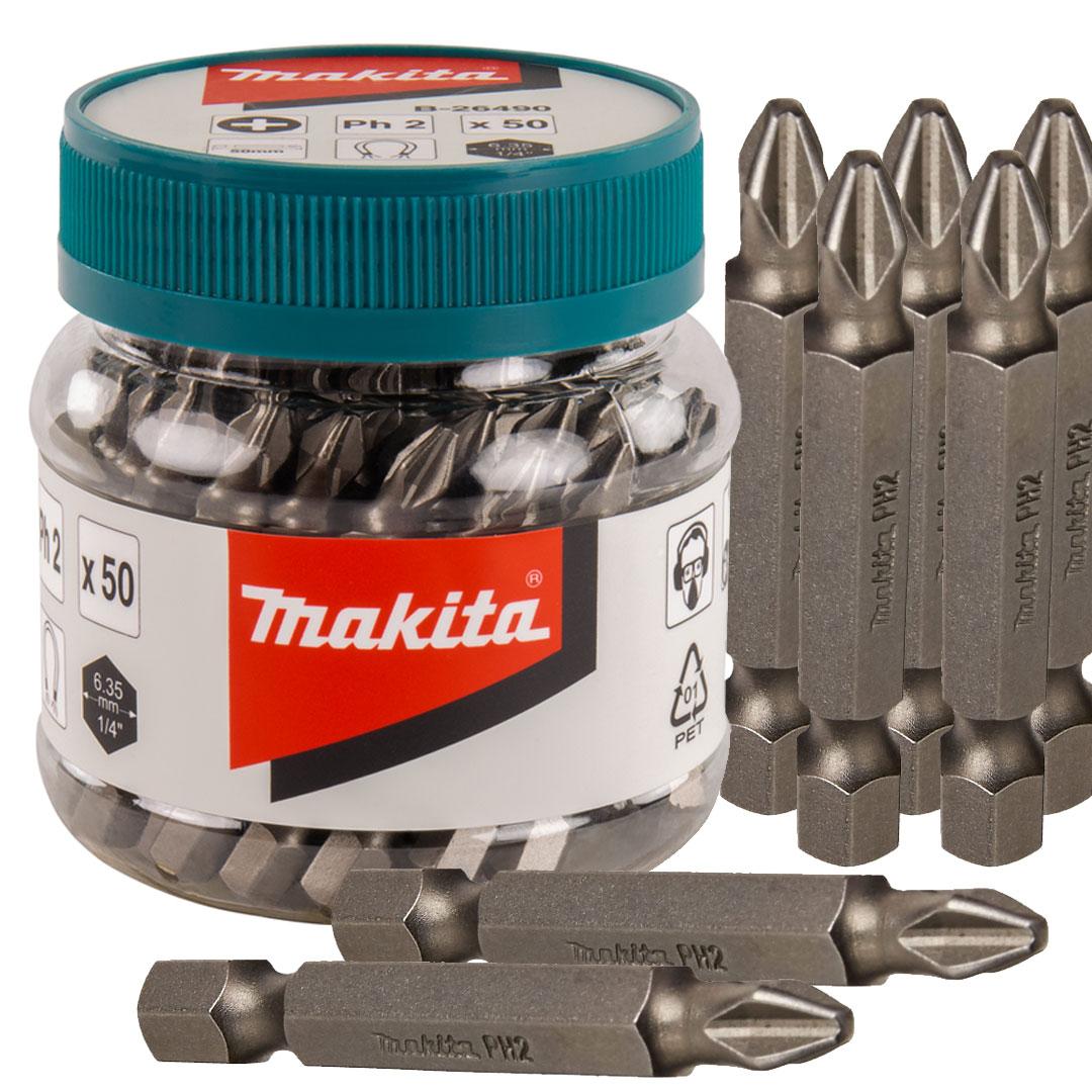 Ponta Magnética Longa Makita Bits Phillips PH2 50mm Pote com 50 unidades B-26490