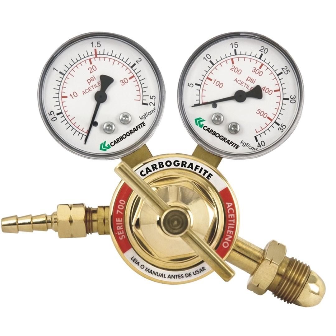 Regulador de Pressão Acetileno Cilindro Série 700 CARBOGRAFITE 010403110