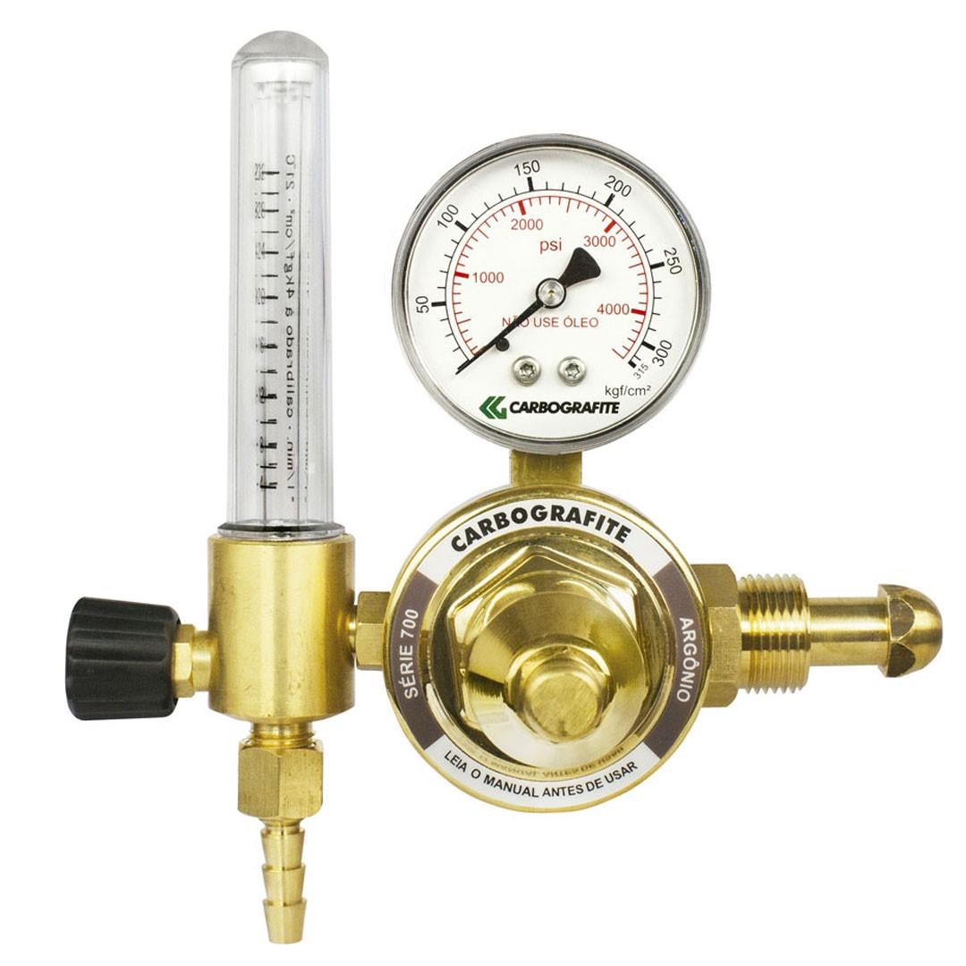 Regulador de Pressão Argônio com Fluxômetro Cilindro Série 700 CARBOGRAFITE 010474110