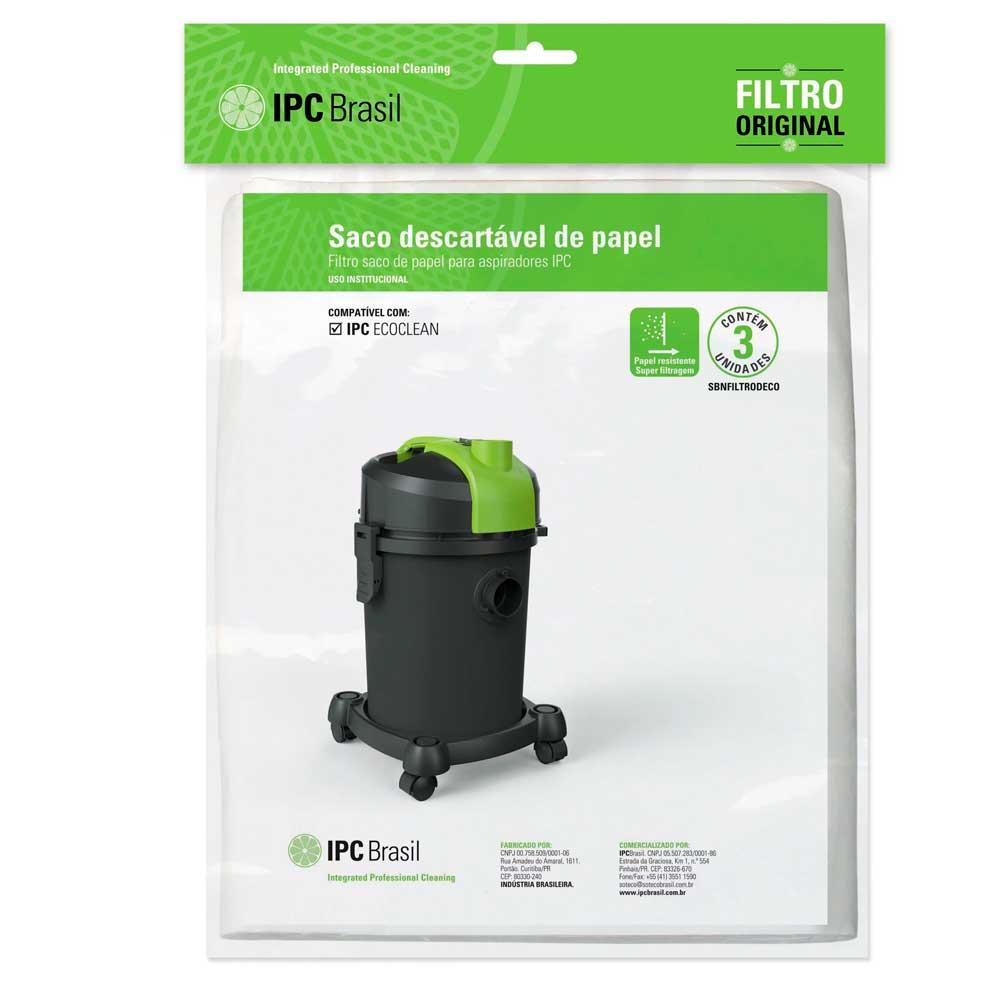 Saco P/ Pó Descartável Aspirador Ecoclean AP-120 3 Pçs IPC - Sbefiltrodeco