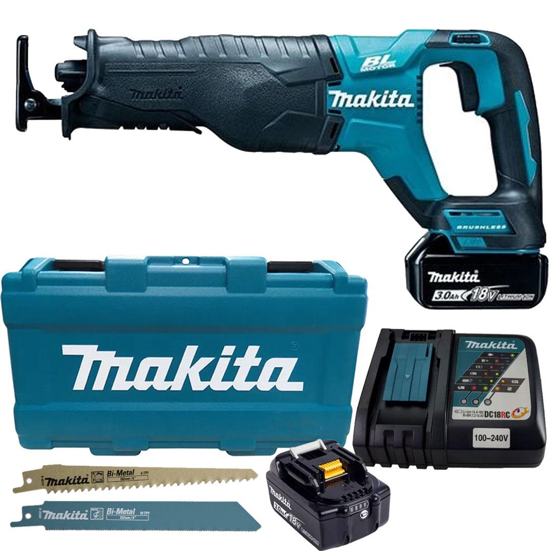 Serra Sabre 18V Bateria c/ 2 Baterias 3Ah + Carregador Bivolt e Maleta DJR187RFE Makita