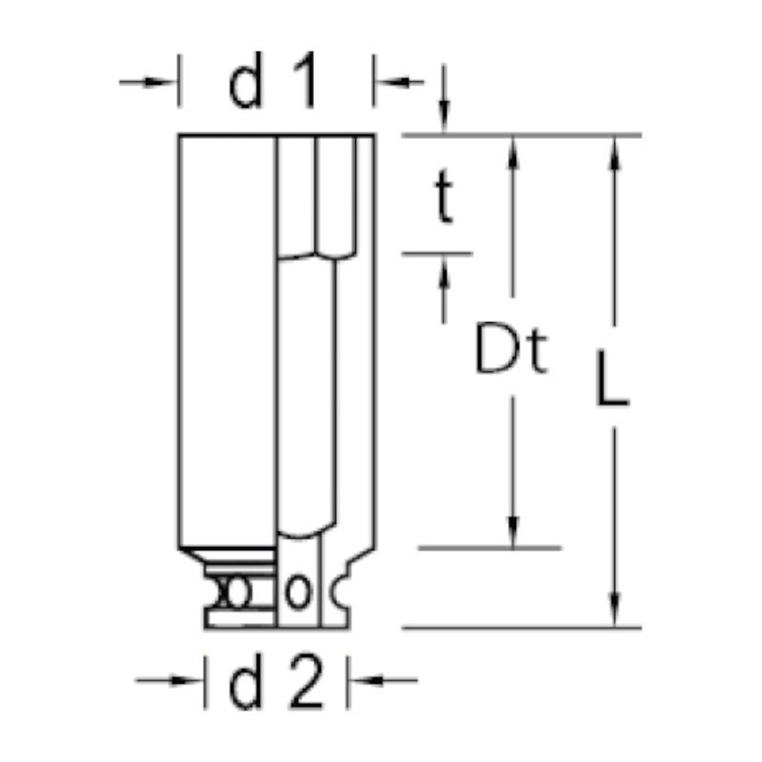 "Soquete Impacto Encaixe 1"" 33MM Sextavado Longo K21L Gedore - 021.123"