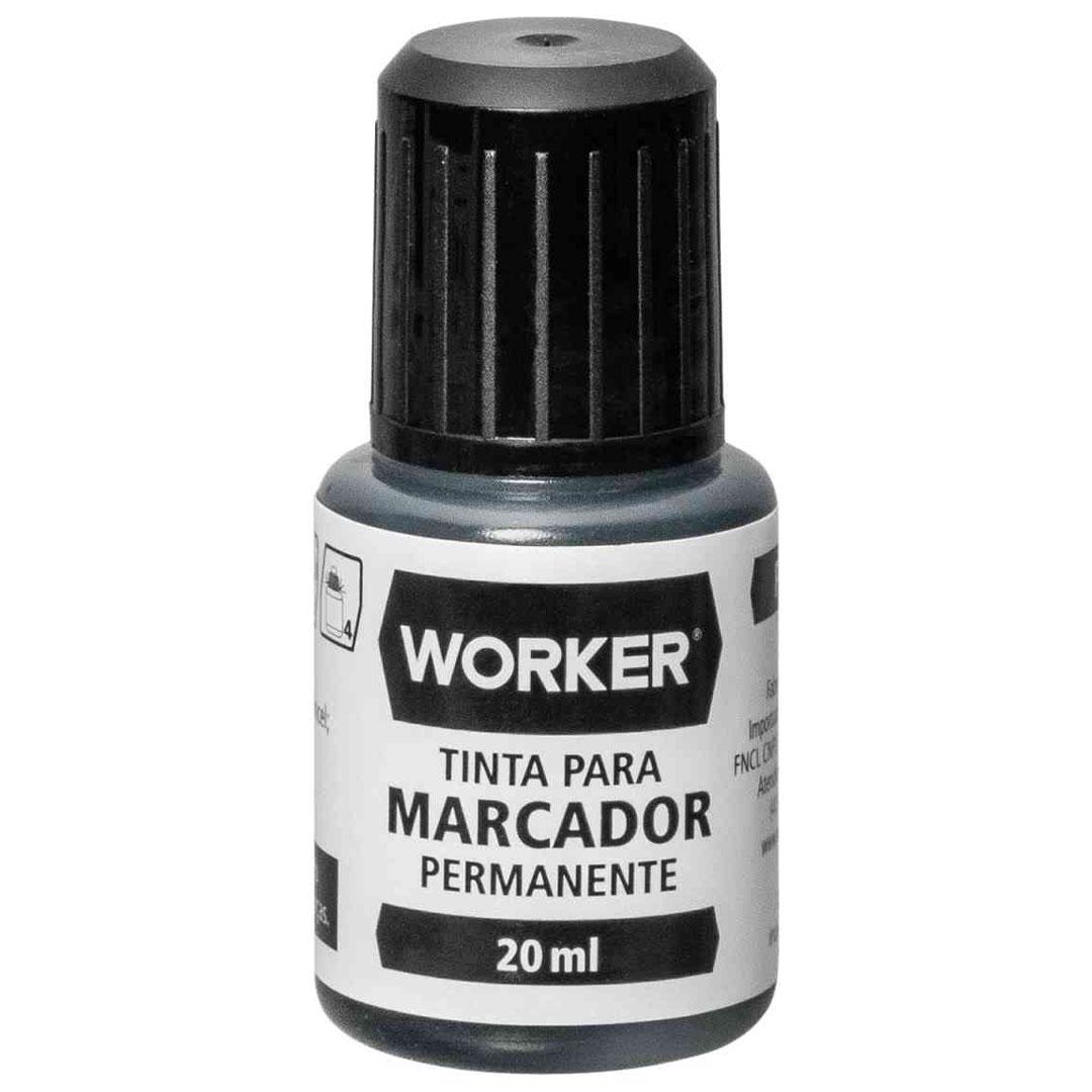 Tinta para Caneta Marcador Permanente Preta 20ml WORKER – 930121