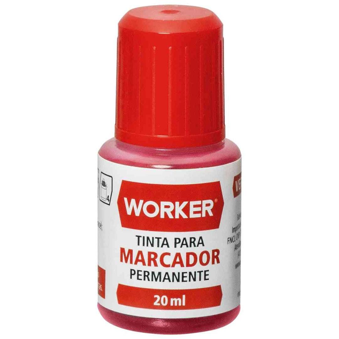 Tinta para Caneta Marcador Permanente Vermelha 20ml WORKER – 930130