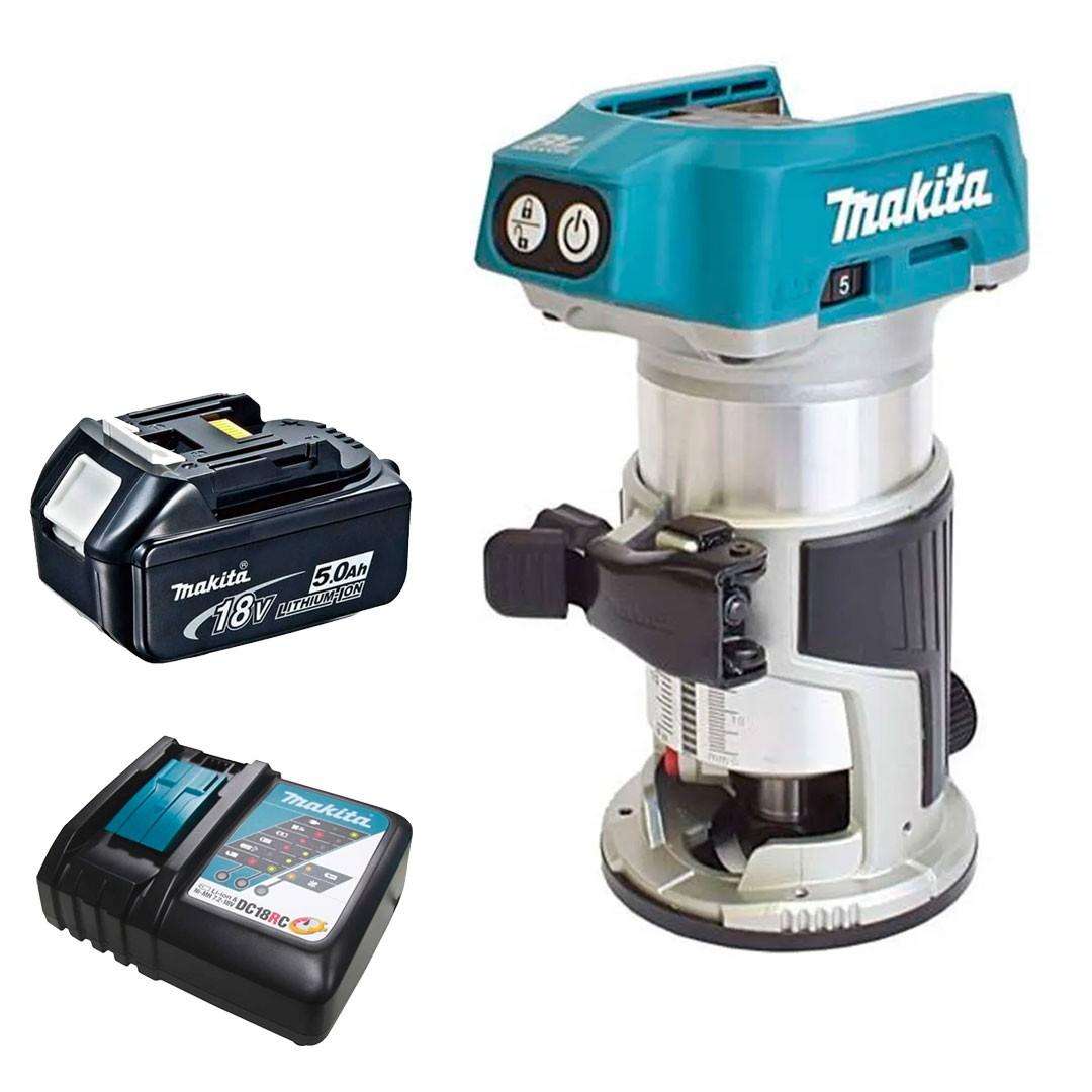 Tupia 18V 6 e 8mm Motor BL DRT50Z + 1 Bateria 5AH BL1850 + Carregador DC18RC Bivolt - Makita