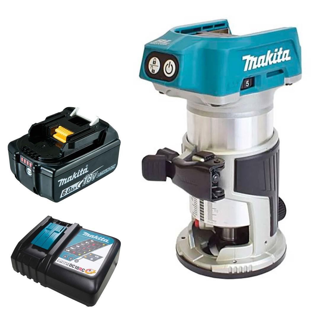 Tupia 18V 6 e 8mm Motor BL DRT50Z + 1 Bateria 6AH BL1860 + Carregador DC18RC Bivolt - Makita