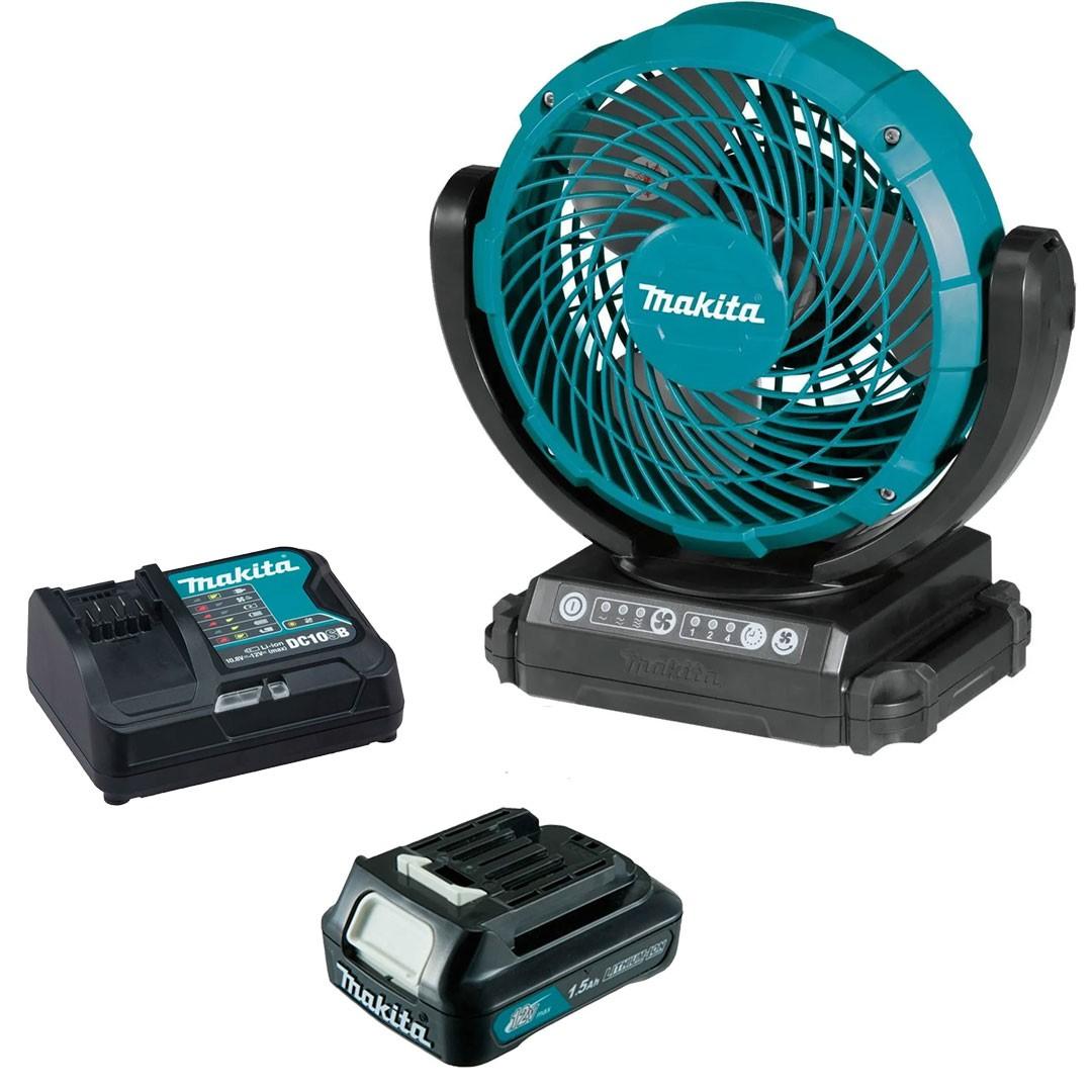 Ventilador A Bateria 12V CXT CF101DZ + Bateria 1.5AH BL1016 + Carregador 12V Máx DC10SB - Makita