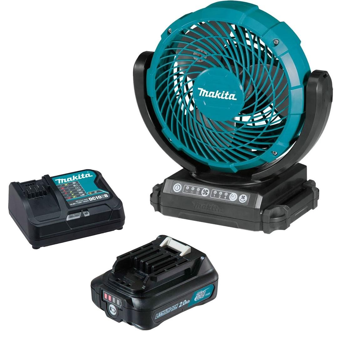 Ventilador A Bateria 12V CXT CF101DZ + Bateria 2AH BL1021B + Carregador 12V Máx DC10SB - Makita