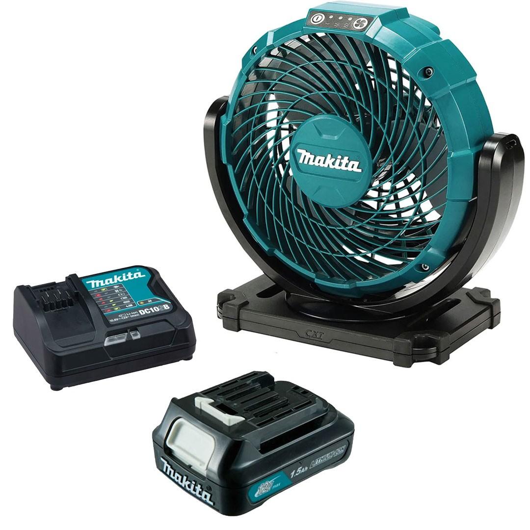 Ventilador A Bateria 12V CXT/ Elétrico CF101Z + Bateria 1,5AH BL1016 + Carregador 12V Máx DC10SB - Makita