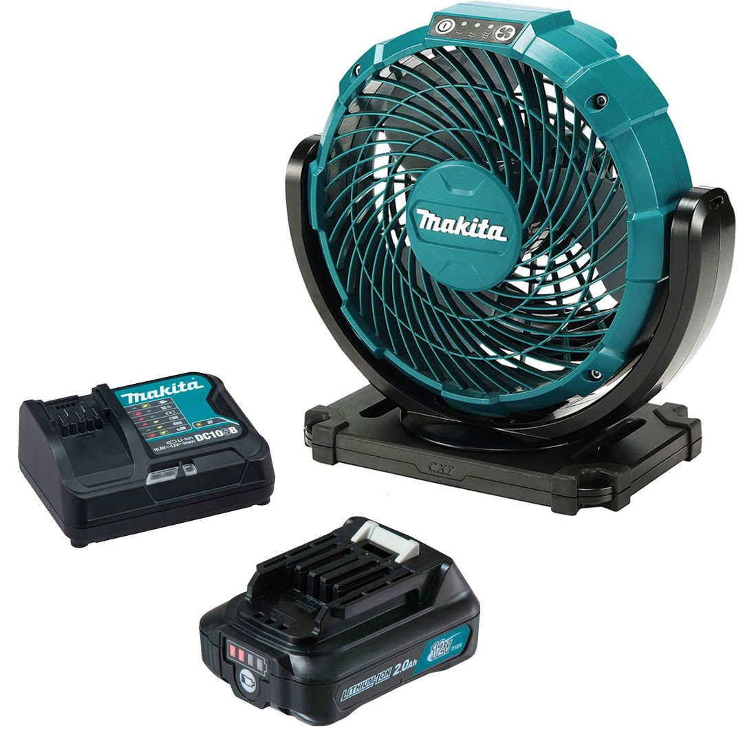 Ventilador A Bateria 12V CXT/ Elétrico CF101Z + Bateria 2AH BL1021B + Carregador 12V Máx DC10SB - Makita
