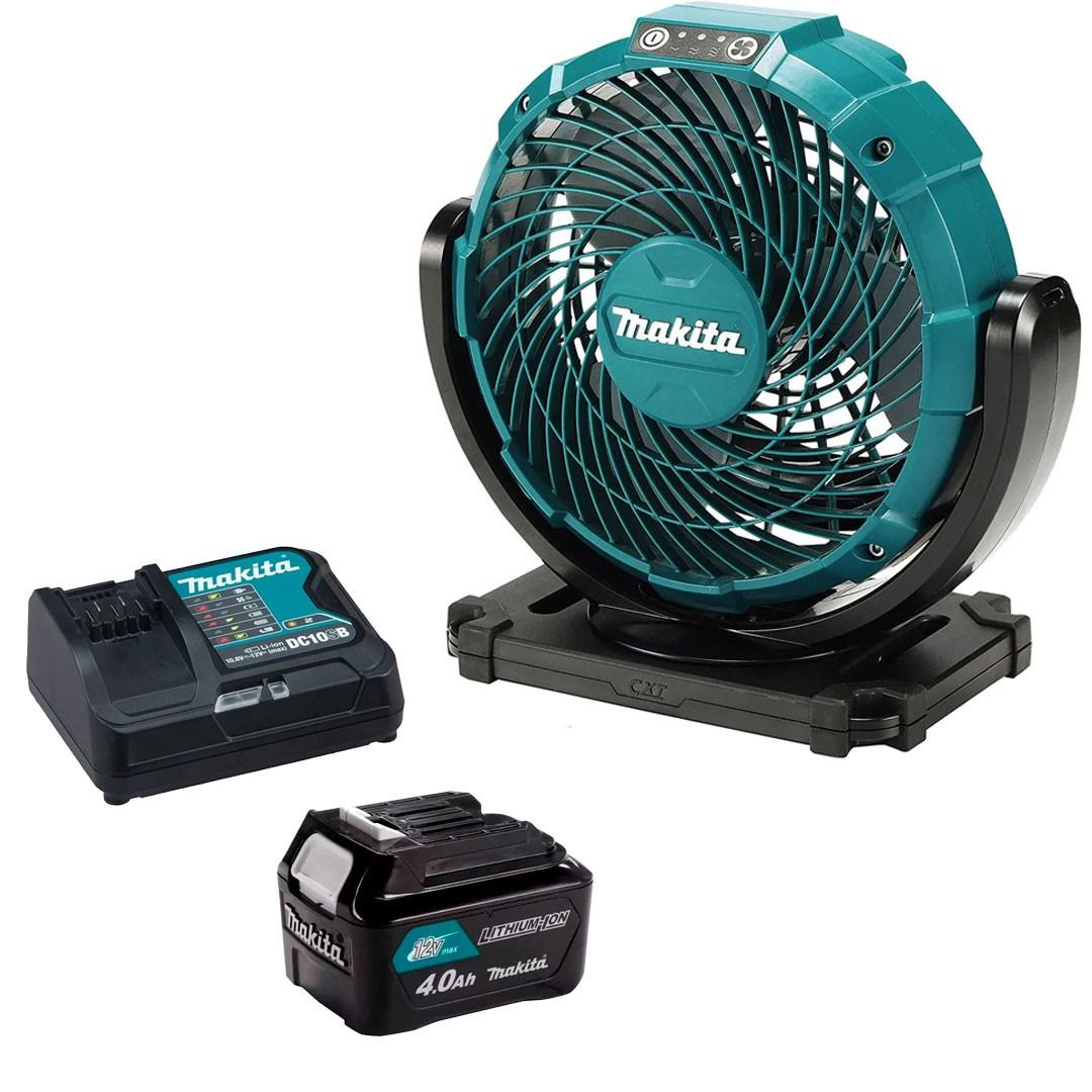 Ventilador A Bateria 12V CXT/ Elétrico CF101Z + Bateria 4AH BL1040 + Carregador 12V Máx DC10SB - Makita